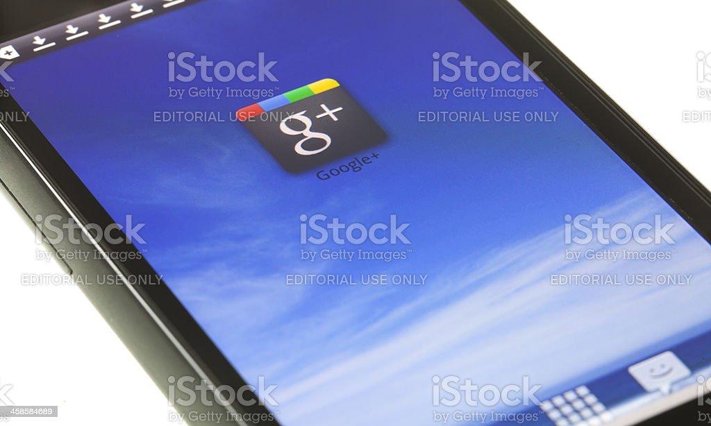 Google Plus on mobile device royalty-free stock photo