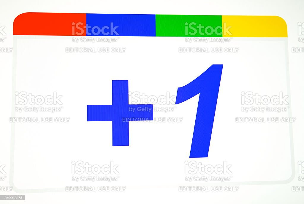 Google Plus One Logo stock photo