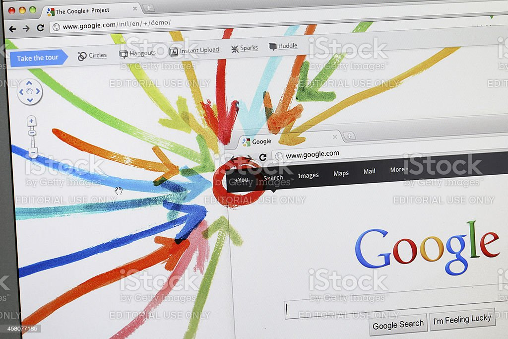 Google Plus - the new social network stock photo