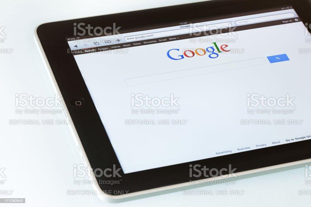Google search on  Apple iPad2 royalty-free stock photo
