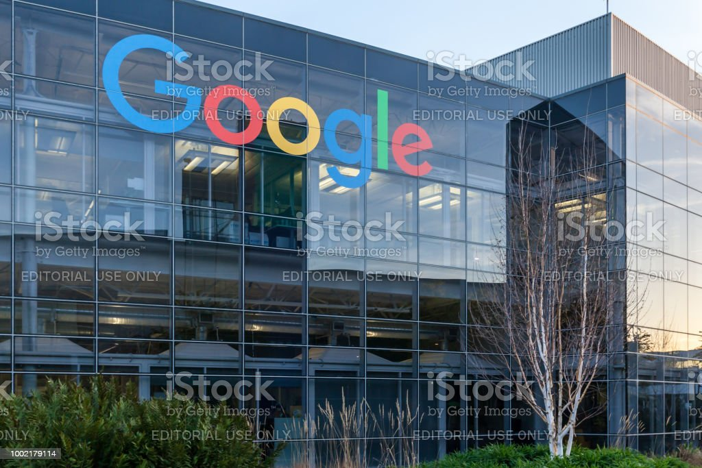 Google sign on the building at Google's headquarters in Silicon Valley . stock photo