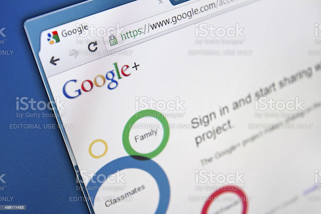 Google+ Social Network stock photo