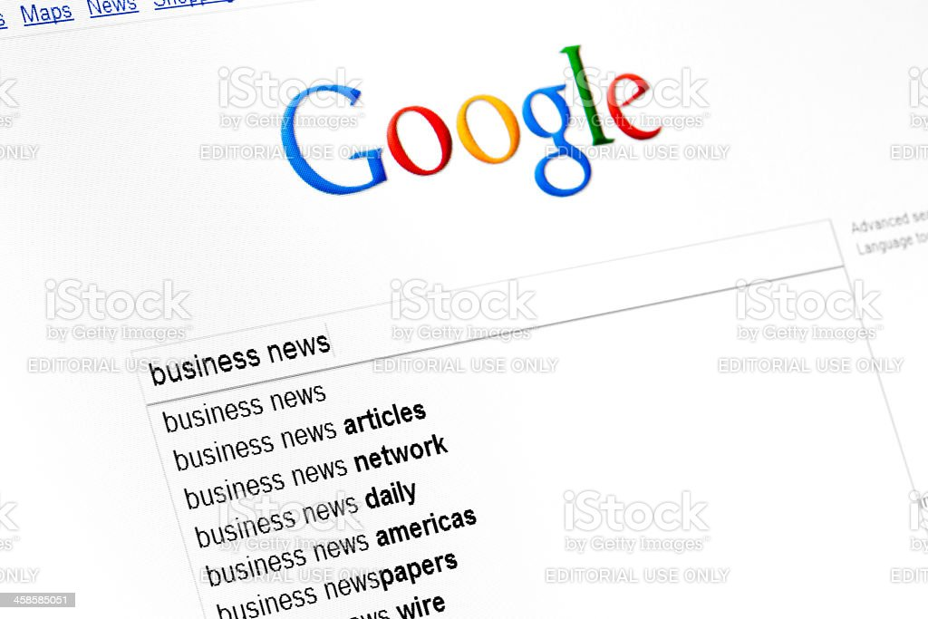Google start page on browser window royalty-free stock photo