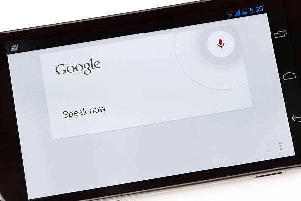 google voice-anwendung auf smartphone galaxy nexus - geräusche app stock-fotos und bilder