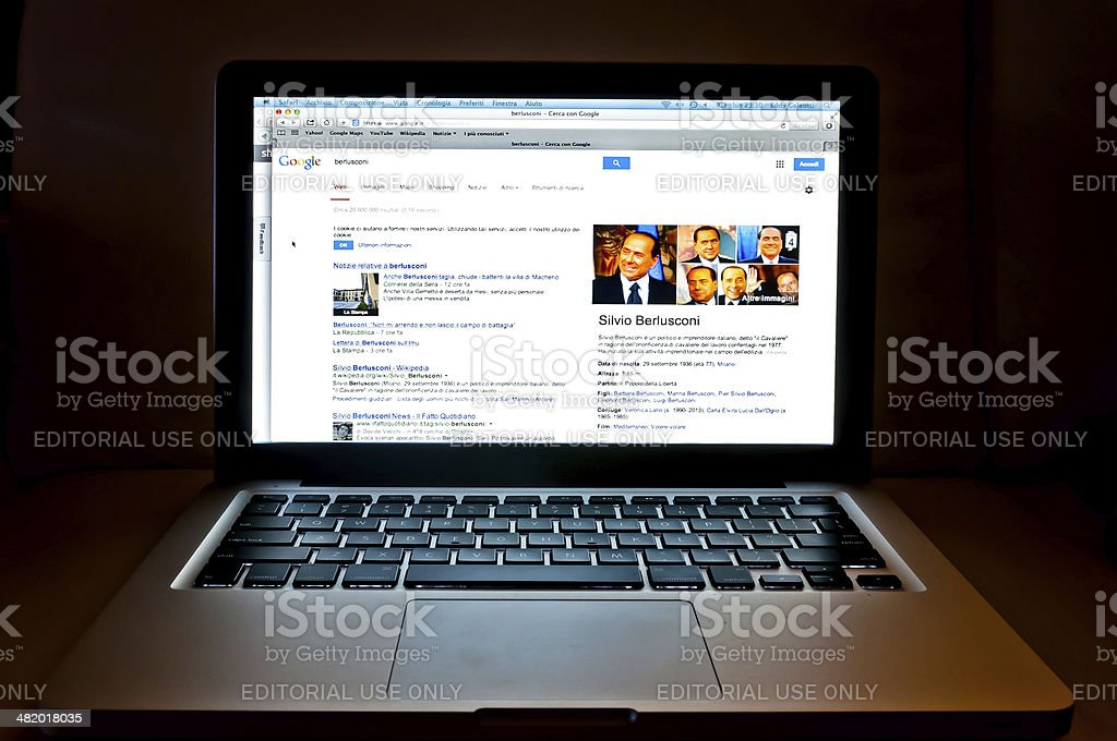 Google web search related to Silvio Berlusconi stock photo