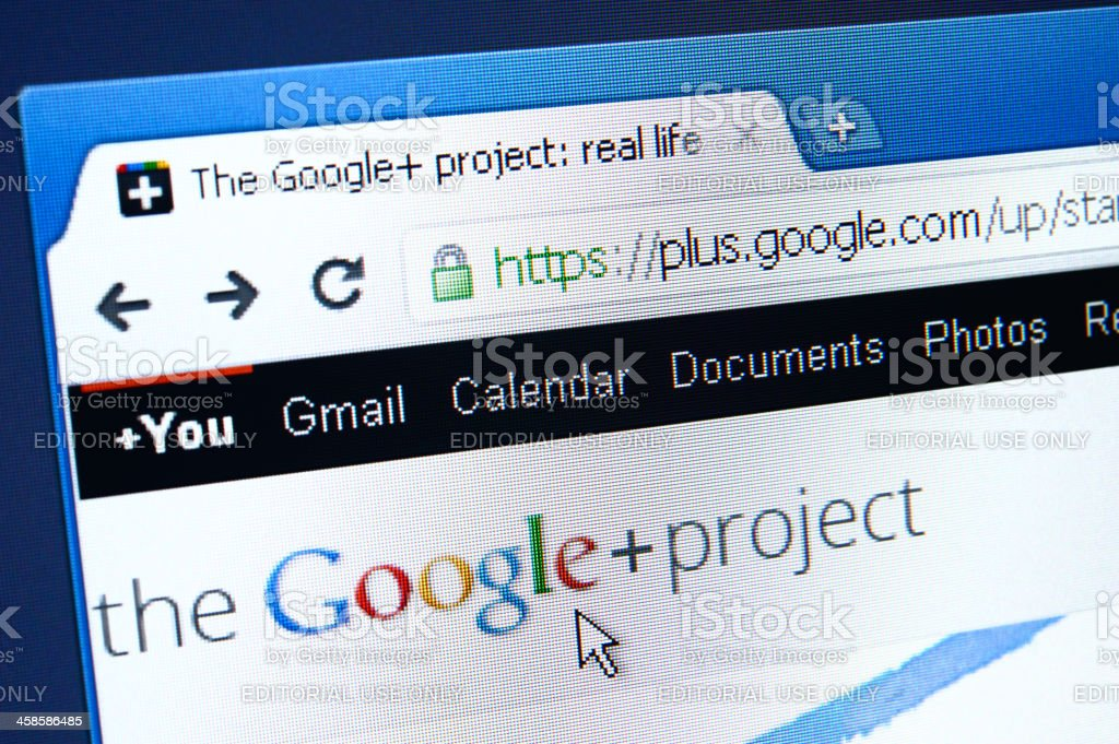 Google+ webpage on the browser royalty-free stock photo