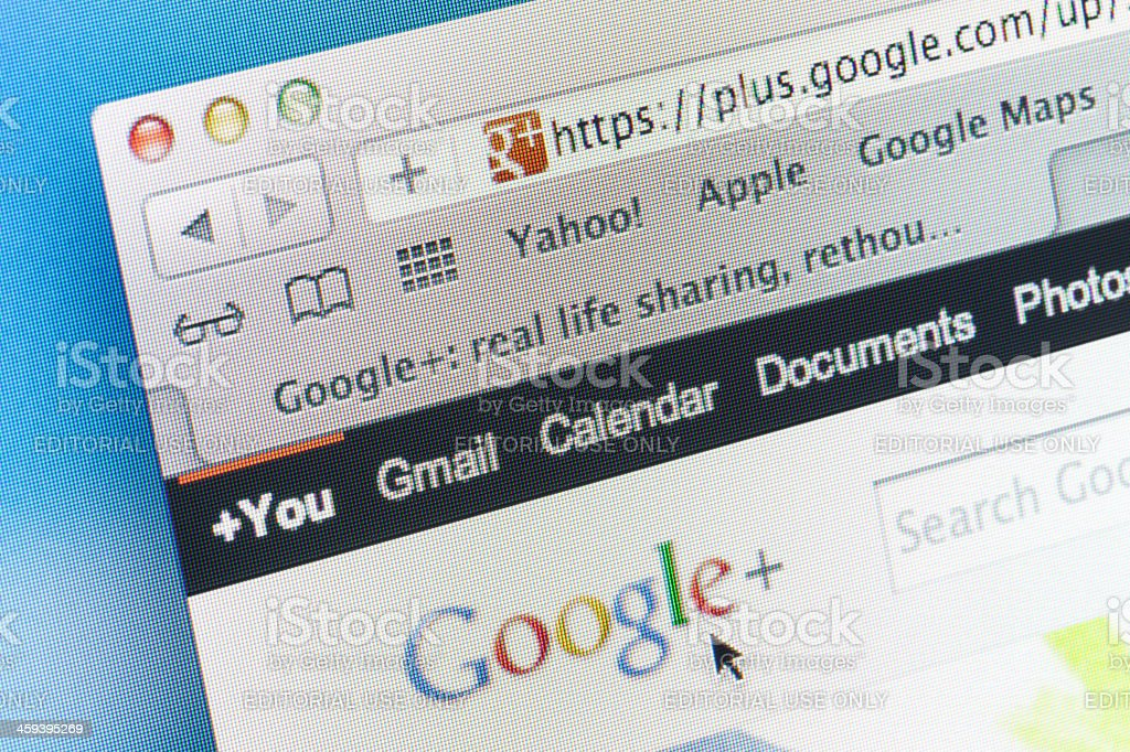 Google+ Webpage stock photo