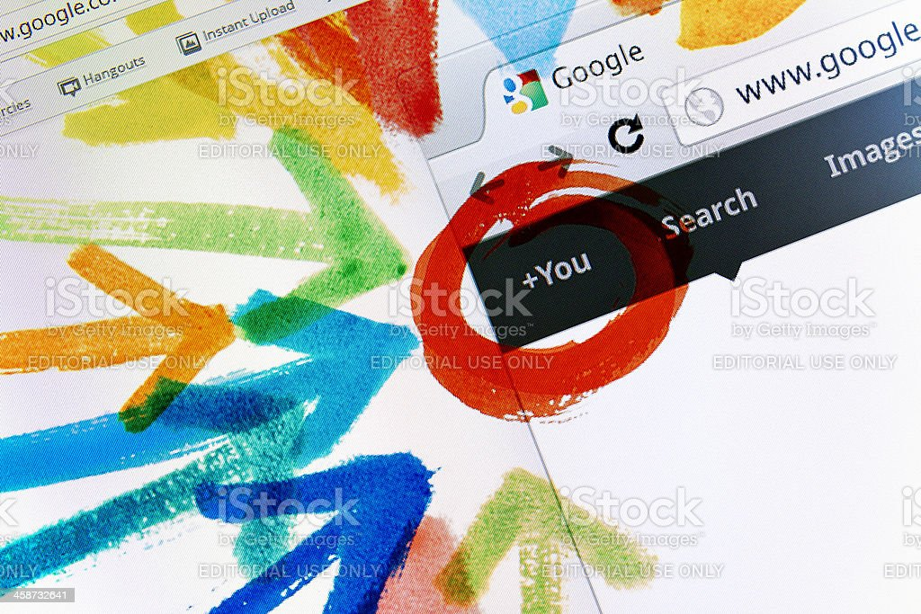 Google+ Welcome Screen stock photo
