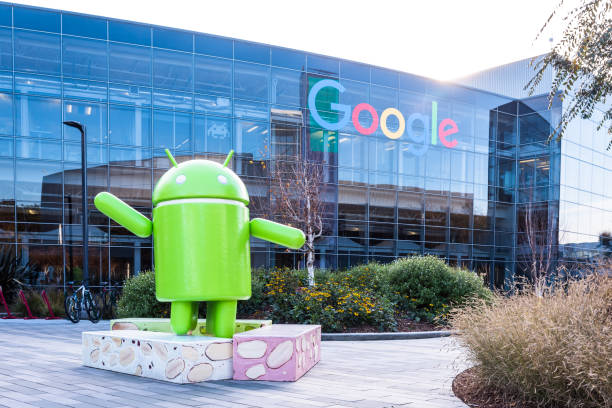 Googleplex - Google Headquarters with Android figure stock photo