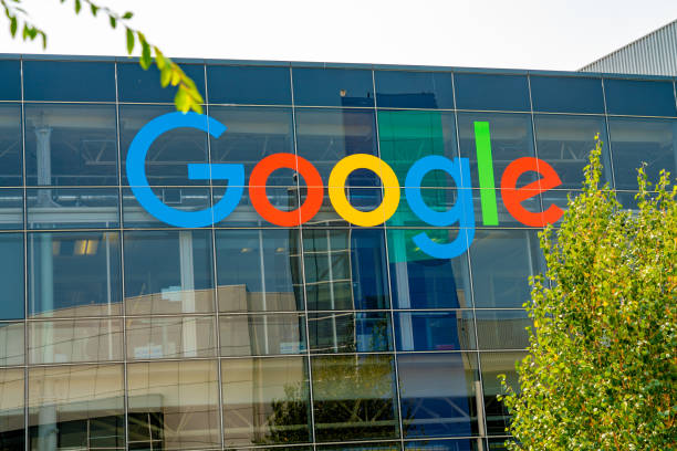 Googleplex office in Silicon Valley. Palo Alto, California, USA - January 02, 2018: Googleplex office in Silicon Valley. Huge Google sign, Android robot sculpture and main Google office. google stock pictures, royalty-free photos & images