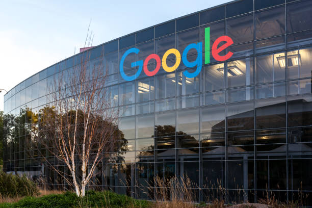Google's headquarters in Silicon Valley in Mountain View, California. Mountain View, California, USA - March 28, 2018: Google sign at Google's headquarters in Silicon Valley. Google is an American technology company. google stock pictures, royalty-free photos & images