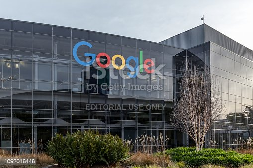 Mountain View, California, USA - March 30, 2018: Google's headquarters in Silicon Valley. Google is an American technology company that specializes in Internet-related services and products.