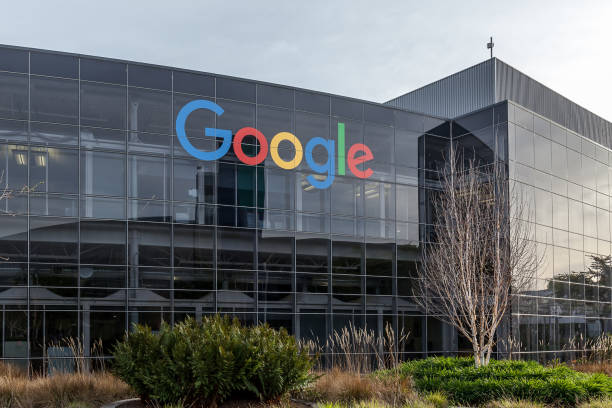 Google's headquarters in Silicon Valley. Mountain View, California, USA - March 30, 2018: Google's headquarters in Silicon Valley. Google is an American technology company that specializes in Internet-related services and products. google stock pictures, royalty-free photos & images