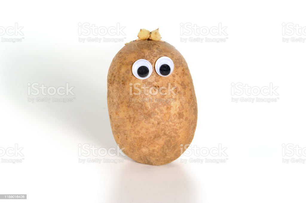 Googly Eyes Funny Cute Brown Mister Fresh Potato On White