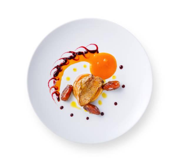日付フルーツとベリーのソースとフォアグラ - フランス料理 ストックフォトと画像