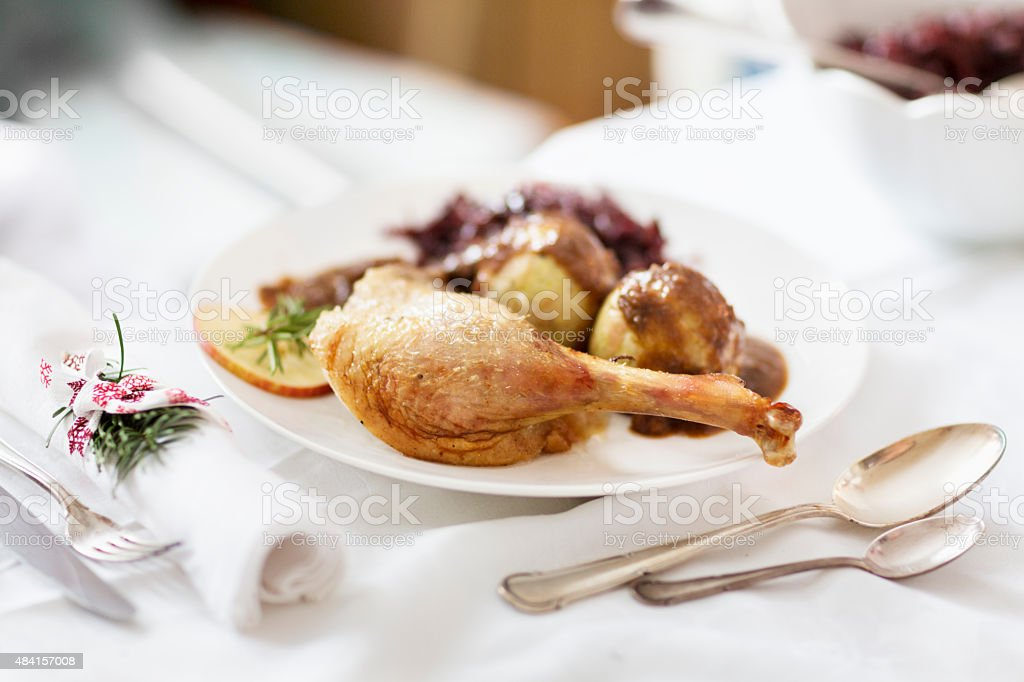 goose turkey on festive holiday table stock photo