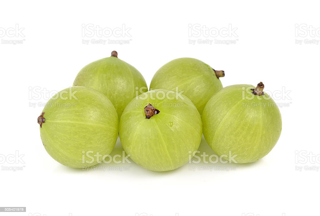 gooseberries on white background stock photo