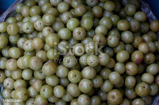 Gooseberry for sale in bazaar market in Delhi, India.