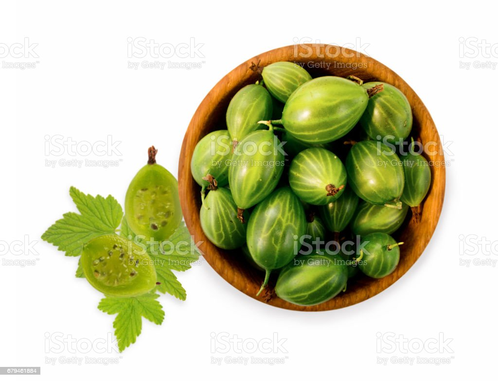 Gooseberry fruit with copy space for text. Top view. royalty-free stock photo