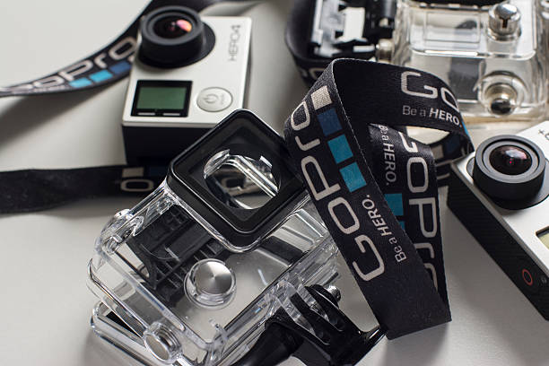 gopro hero 4 and hero 3+ - gopro stockfoto's en -beelden