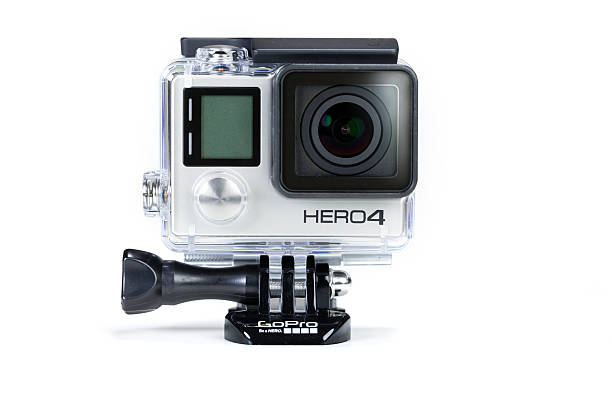 gopro hero 4 black, isolated on white background - gopro stockfoto's en -beelden