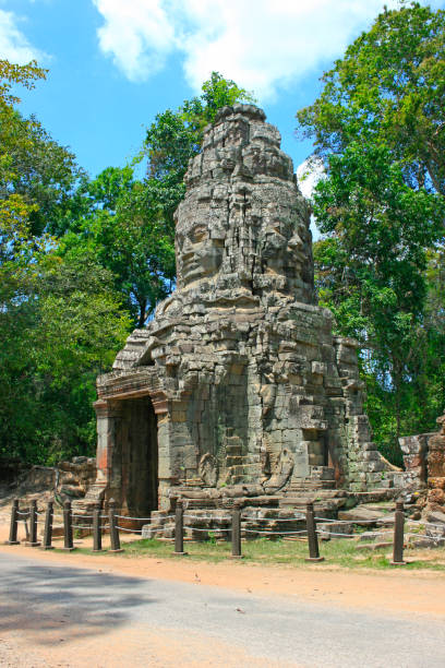 Gopura at Ta Prohm temple in Siem Reap stock photo