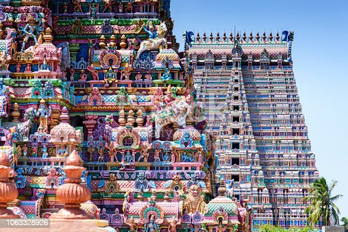 A Gopuram is a monumental gatehouse tower, usually ornate, at the entrance of a Hindu temple usually found in the southern India