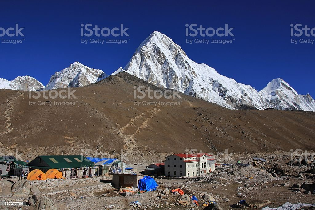 Gorak Shep, Kala Patthar and mount Pumori stock photo