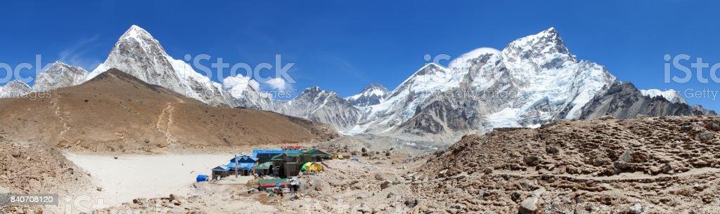 Gorak Shep village an sherpas, Mount Kala Patthar stock photo