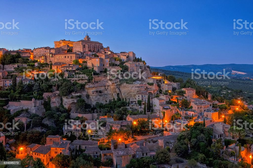 Gordes at night stock photo