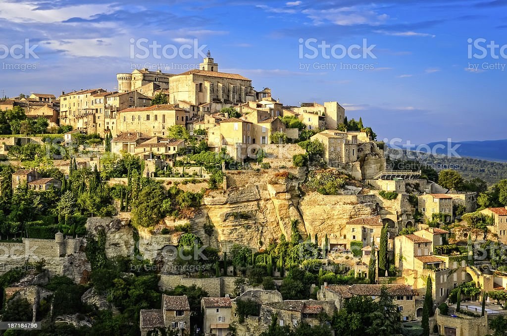 Gordes medieval village sunset view, France, Europe stock photo