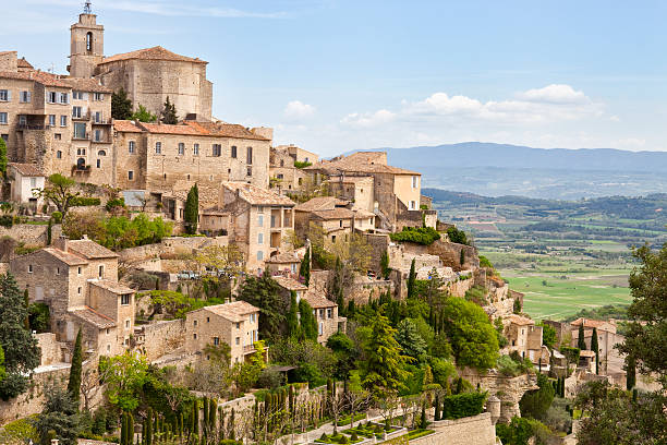 Gordes, Provence, France, Spring, Valley of Luberon Gordes, Provence, France, Spring, Valley of Luberon.  One of the most beautiful villages in France provence alpes cote d'azur stock pictures, royalty-free photos & images