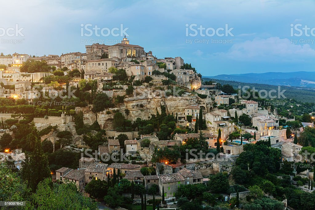 Gordes Provence France Twilight stock photo