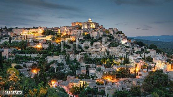 istock Gordes Village Panorama at Sunset Provence Alpes Cote d'Azur France 1283287372