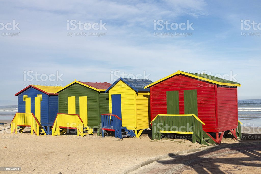 Gordons Bay beach huts royalty-free stock photo