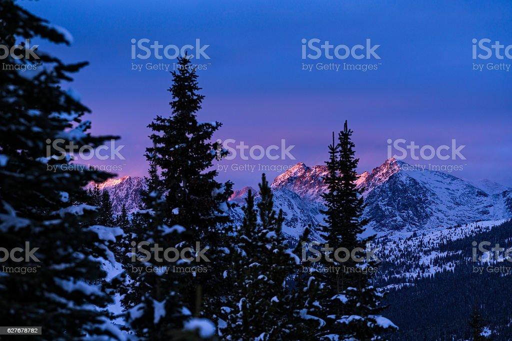 Gore Range Mountains Sunset Vail Colorado stock photo