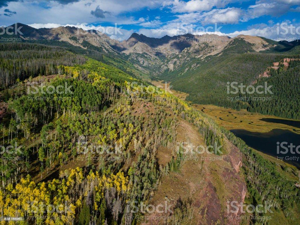 Gore Range Piney Lake Vail Colorado stock photo