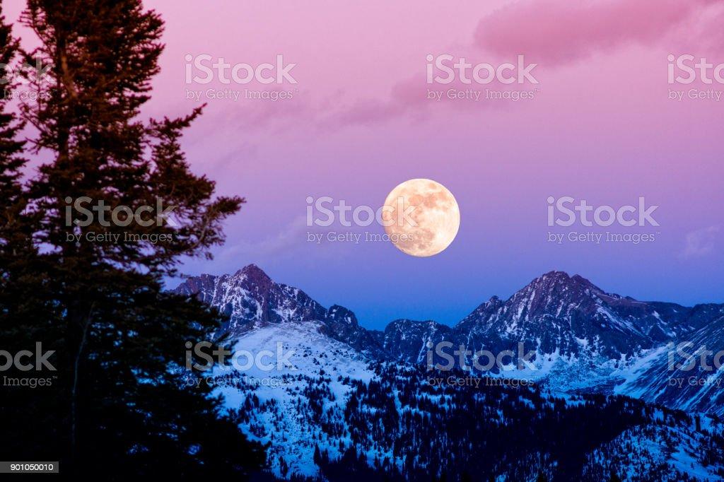 Gore Range Sunset Moonrise stock photo