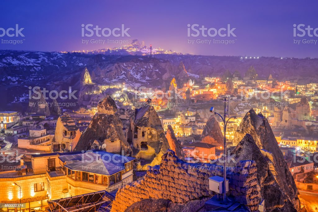 Goreme town in the night stock photo