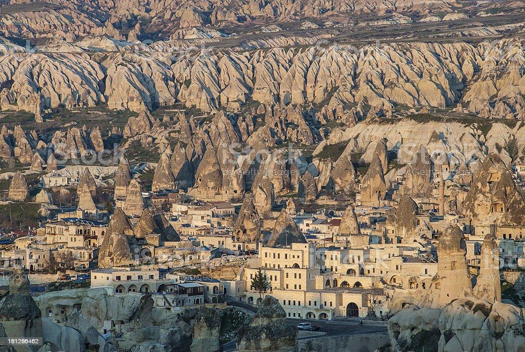 Goreme village in Cappadocia, Turkey stock photo