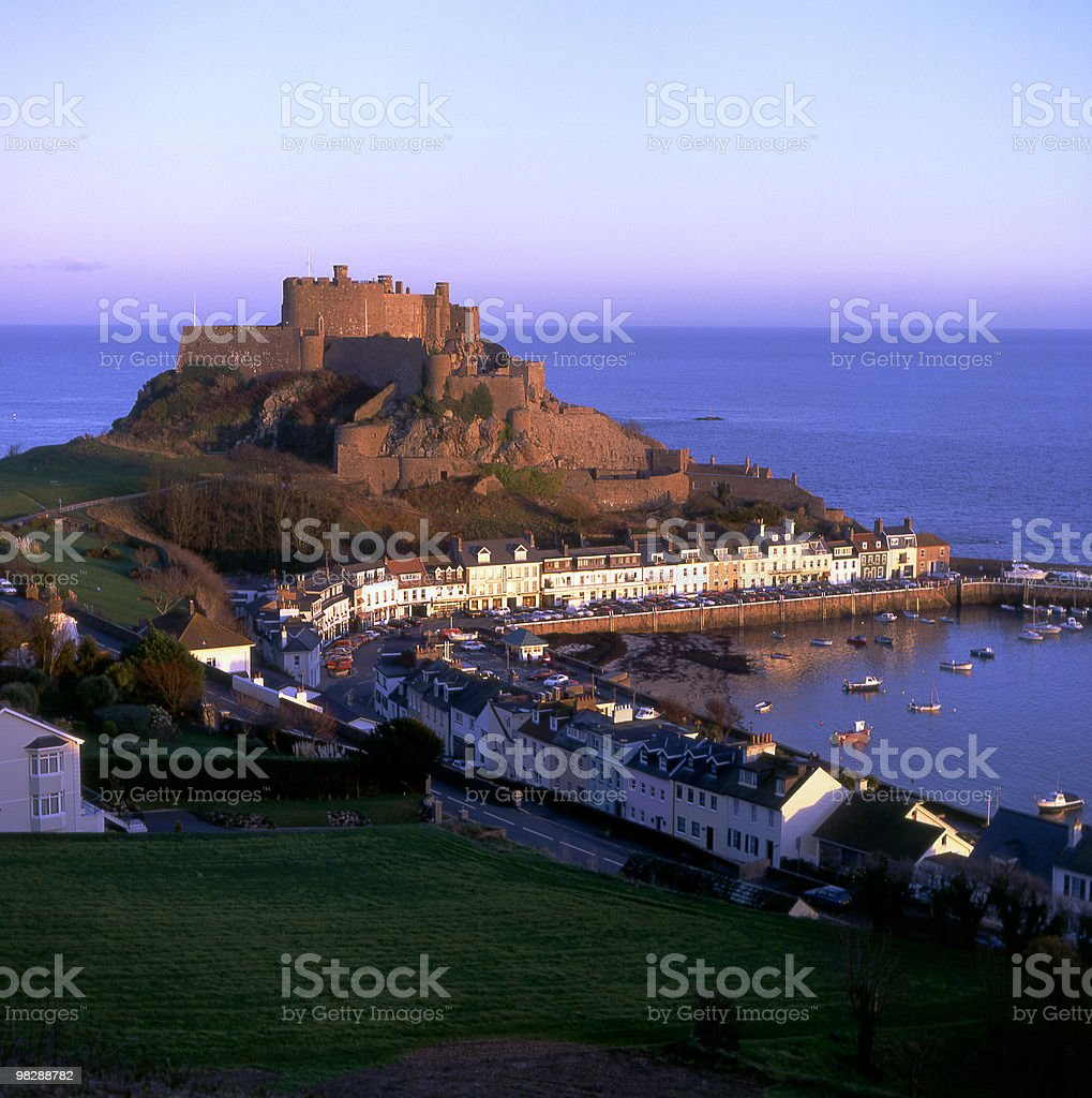 Gorey Castle at Dusk. Jersey, Channel Islands royalty-free stock photo