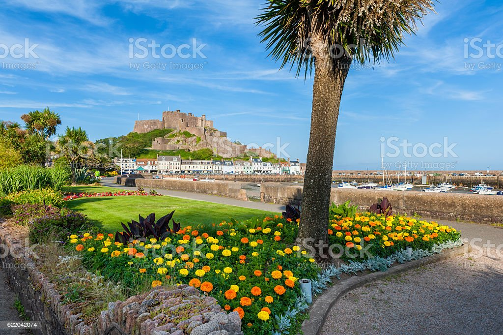 Gorey Castle in St Martin Jersey stock photo