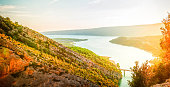 view of mountain and Gorge du Verdon at summer, Provence, France, web banner