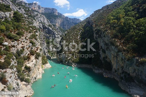 People in boats on St Croix Lake, Les Gorges du Verdon, Provence, France