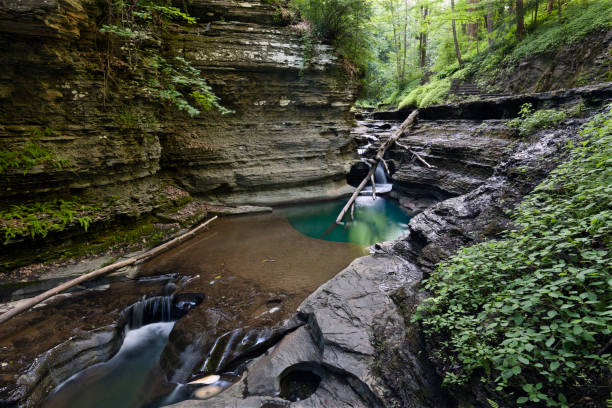 Gorge Pool Spring floods carve deep pools into the gorge floor.  Summer within the gorge of Buttermilk Falls Park. michael stephen wills waterfall stock pictures, royalty-free photos & images