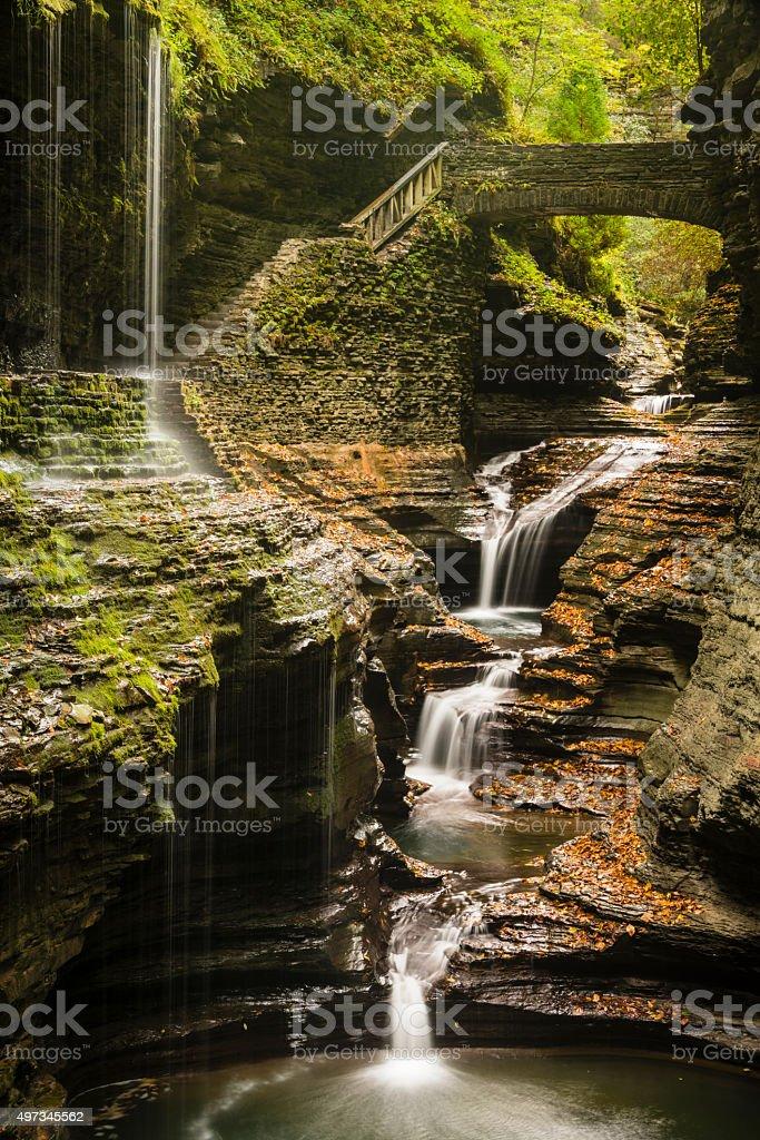 XXXL: Gorge trail through Watkins Glen State Park stock photo