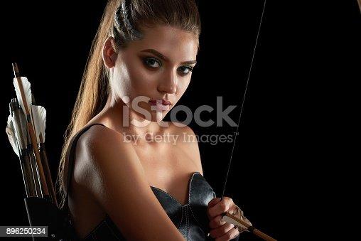 istock Gorgeous Amazon woman at studio 896250234