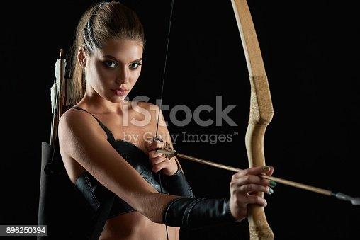 istock Gorgeous Amazon woman at studio 896250394