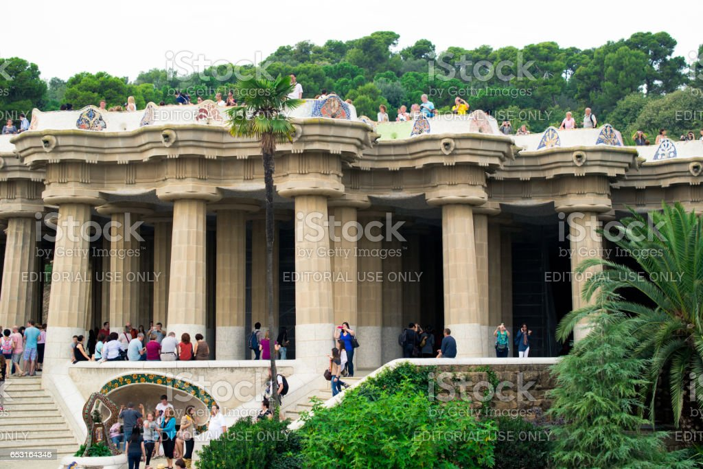 BARCELONA, SPAIN - OCTOBER 15: Gorgeous and amazing Park Guel in Barcelona. Park Guell (1914) is the famous architectural town art designed by Antoni Gaudi on October 15, 2013 in Barcelona, Spain. stock photo