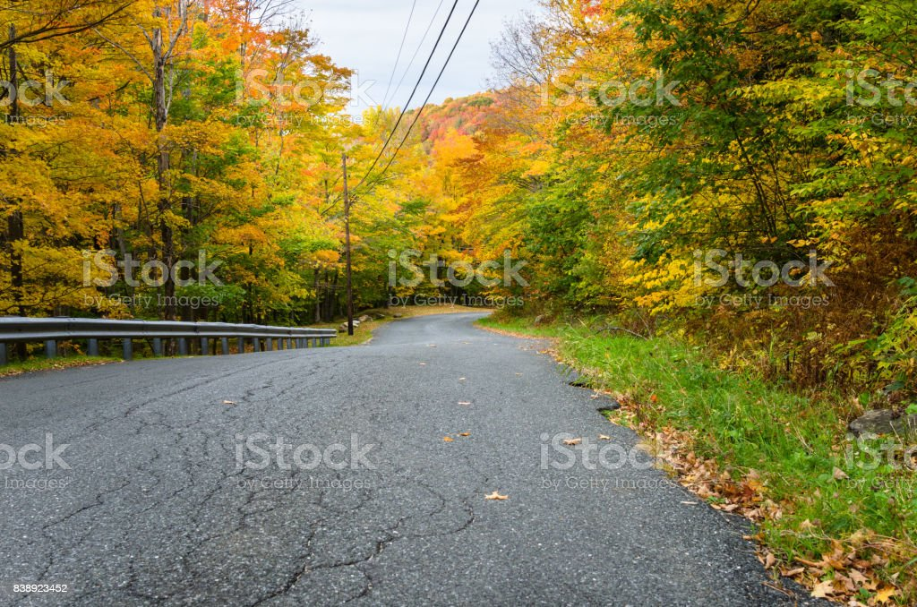 Gorgeous Autumn Colours along a Rough Mountain Road stock photo